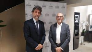 Michel DERVYN et François morisset, à l'inauguration du salon de coiffure Alexandre de paris, ouvert à Lyon