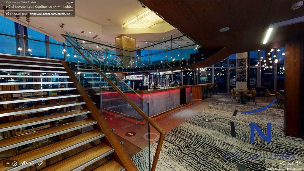 Visite virtuelle des Espaces lobby, Gourmet Bar & terrasse – Offre MICE Novotel Lyon Confluence