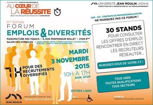 5ème édition du Forum Emploi Diversité le 3 novembre 2015