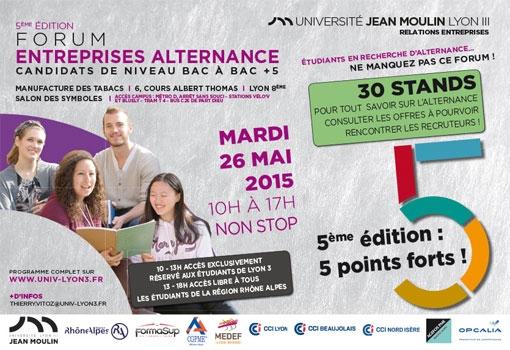 5ème édition Forum Entreprises Alternance : le 26 mai 2015 à l'Université Jean Moulin Lyon III