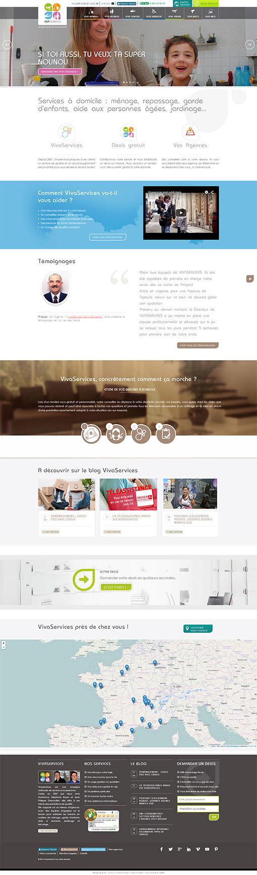 Page d'accueil du nouveau site internet VIVASERVICES