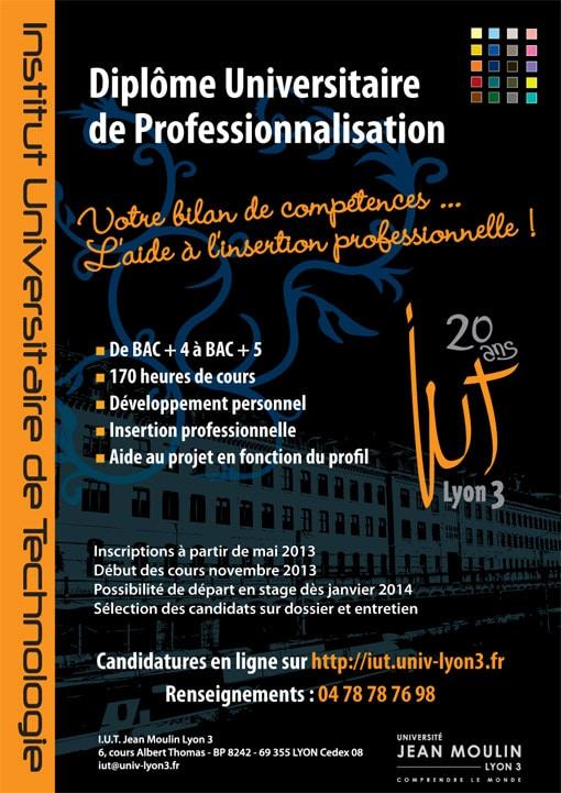 Diplôme Universitaire de Professionnalisation à l'IUT de Lyon 3