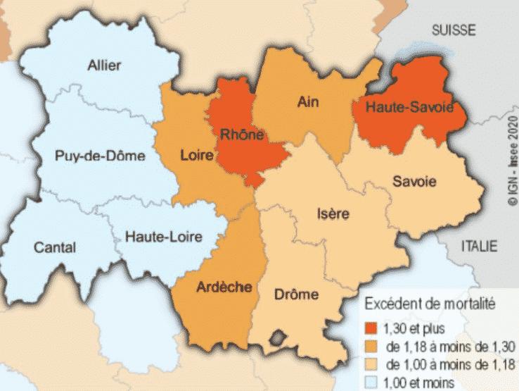 Surmortalite Dans La Region Auvergne Rhone Alpes Due Au Covid 19 18 De Deces Supplementaires Le Lyon Entreprises