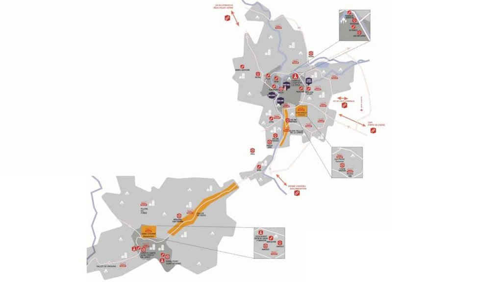 La carte de l'alliance territoriale et industrielle entre Lyon et Saint-Etienne