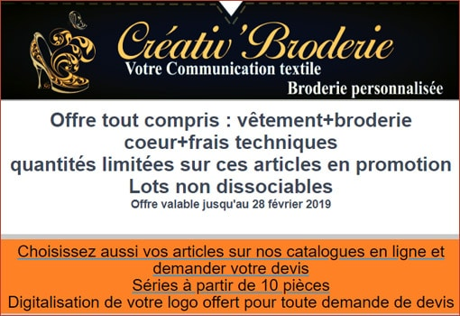 C'est aussi les soldes chez Créativ' Broderie, l'artisan brodeur !