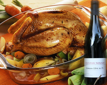Conseil de sommelier : volaille fermière aux olives et Morgon «Côte du Py» , Domaine Burgaud 2010