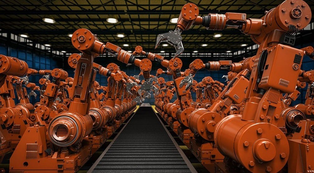 Des bras robots oranges