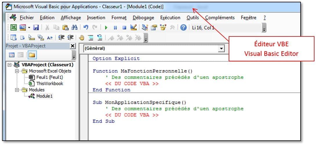 Programmer ses macros VBA dans Excel