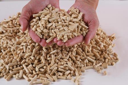 Granules de bois ou pellets à brûler dans un poêle à granulés