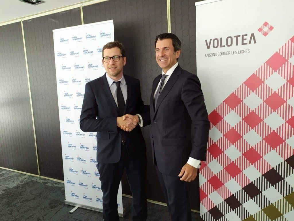 Tanguy Bertolus et Pierfrancesco Carino se sont félicités de l'installation de la nouvelle base de Volotea à Lyon