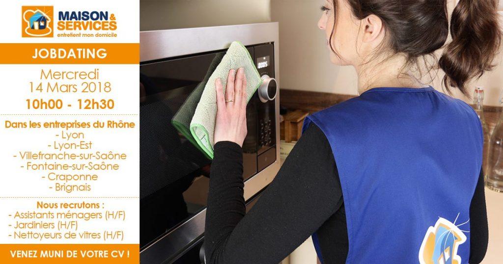 JobDating Maison & Services le mercredi 14 Mars dans les 6 agences du Rhône