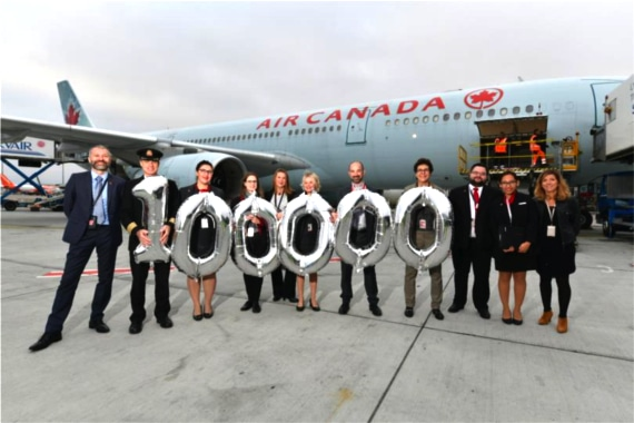 La ligne Lyon-Montréal d'Air Canada a transporté 100 000 passagers en deux ans