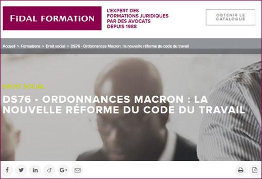 La nouvelle réforme du code du travail [Formation FIDAL]