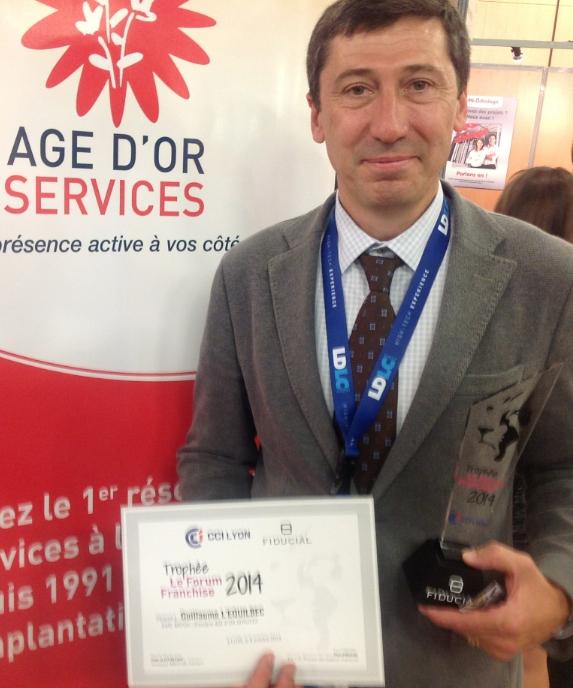 Le lauréat 2014 du Trophée franchise Rhône-Alpes est un Lyonnais : Guillaume L'Equilbec (Age d'Or Services)