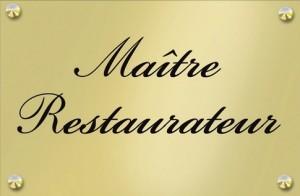 Plaque cuivre du titre de Maître Restaurateur décerné aux Jardins Gourmands