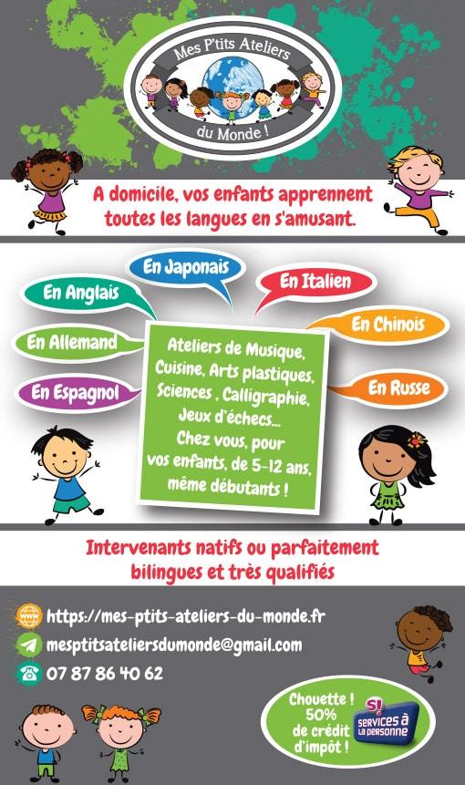 Offres de cours particuliers de langues étrangères pour enfants
