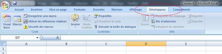 onglet Développeur dans Excel VBA