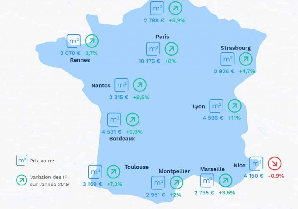 Lyon sur la 1ère marche du podium de l'augmentation des prix de l'immobilier en 2019, Villeurbanne sur la 3ème