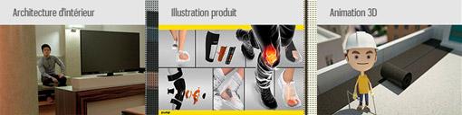 Exemples d'illustrations produits et animations 3D