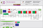 Plan des salons possibles au RDC de l'hippodrome de Lyon Parilly