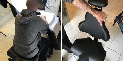 Siège ergonomique de type HECTOR idéal pour le tatoueur