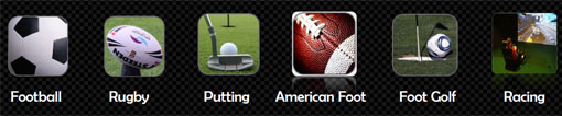 sports simulés foot rugby putting foot golf,
