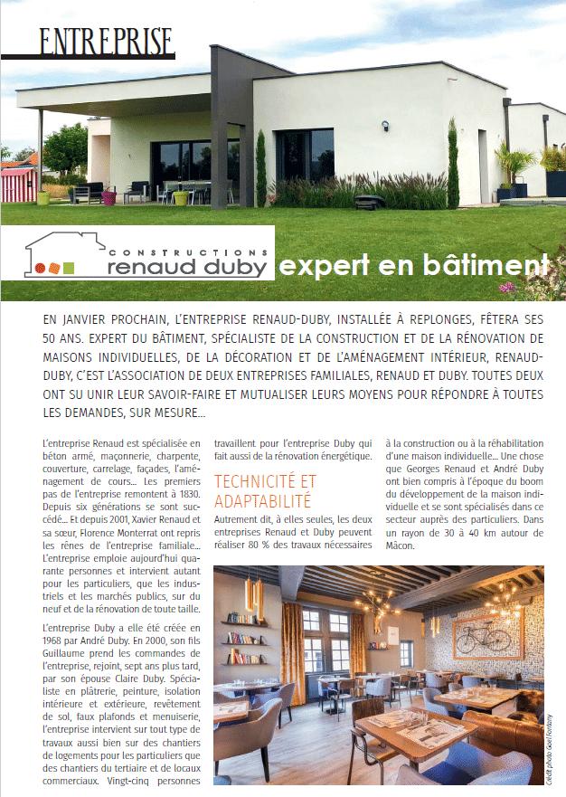 WHAT'S UP Mag Octobre 2018 : Constructions Renaud-Duby Expert en Bâtiment depuis 50 ans